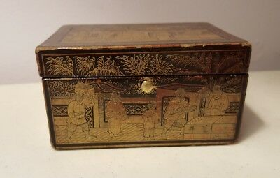 Small Chinese Box Black Lacquer Paint Great Scenes Made in China Vintage Trinket
