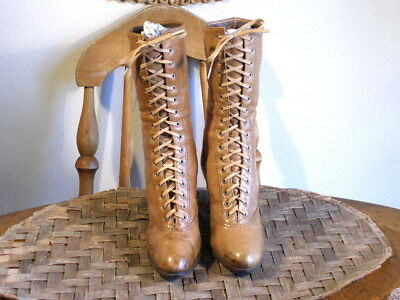 Antique Edwardian Period Camel Leather Lace Up Boots Sz.4?