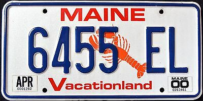 """MAINE """" WILDLIFE LOBSTER VACATIONLAND """" 6455 EL """" 2000 ME Graphic License Plate"""