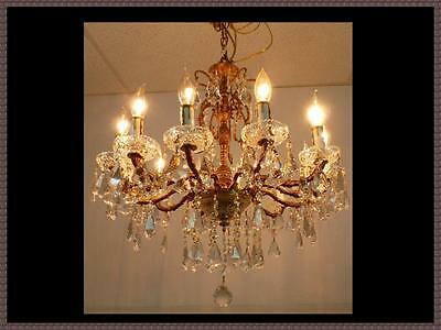 Vintage Brass & Amazing Crystal Chandelier Gorgeous Ceiling Fixture 12 Light