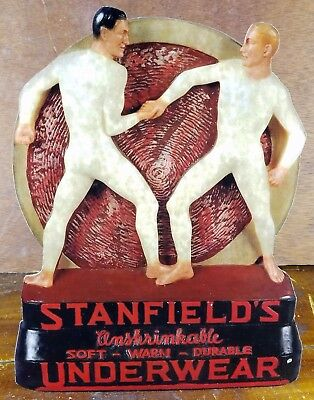 Stanfields Underwear Men Wrestling Long Johns Store Display Counter Sign Gay Int