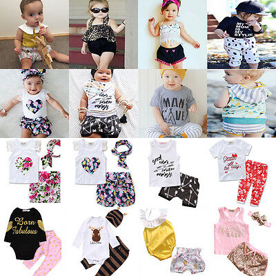 AU Stock Newborn Baby Boy Girl Bodysuit Romper Jumpsuit Outfits Summer Clothes