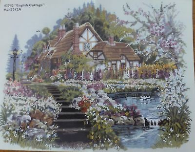 "BUCILLA Crewel Kit -Unused ""English Cottage"" No. 43742 Size 35 x 27cm (14 x 11"")"