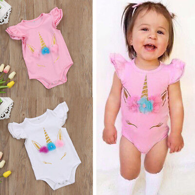 AUStock Unicorn Infant Baby Girl Romper Bodysuit Jumpsuit Outfit Sunsuit Clothes