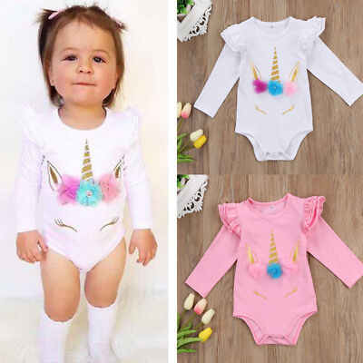 AU Infant Baby Girls Unicorn Romper Floral Bodysuit Long Sleeve Clothes Outfits