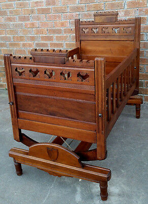 Antique Victorian Eastlake Style Carved Walnut Baby Cradle Collector's Doll Bed