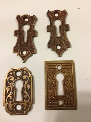 Antique Eastlake Victorian Ornate Brass Key Hole Cover Escutcheons Lot Of 4