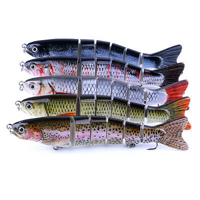 6 Section Multi Jointed Fishing Lure Swim Bait Lifelike Bass Treble Hook 12.7CM