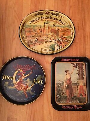 Lot of 3 beer/brewery trays, Anheuser Busch and Miller High Life