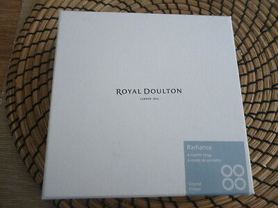 Royal Doulton Radiance 4 Crystal Napkin Rings New in Box