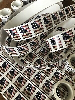50 USPS Forever Stamps US Star Spangled Banner Flag Heart Postage Coil Sheet USA