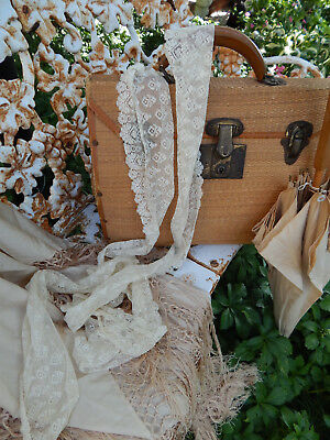 "Antique Cream Victorian Edwardian Lace 111"" Attic Find ID'd"