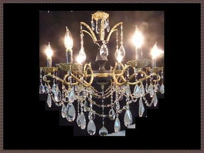 Vintage Brass & Amazing Crystal Chandelier Black Accents Gorgeous Light Fixture!