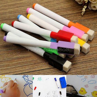 8x Set Magnetic Dry Erase White Board Markers Pens Fine Point Built-in Eraser