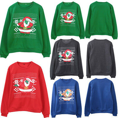 Sweater Christmas Ugly Women Men Holiday Medium Party Ugly Funny Santa S-2XL
