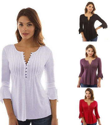 Women Flare Long Sleeve Slim V Neck Buttons Blouse Pleated Tops T Shirt S-5XL