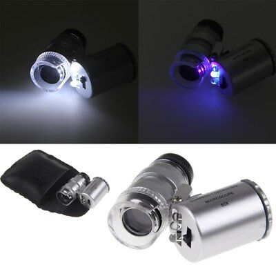 Pro 60X Zoom Magnification LED Pocket Microscope Jeweler Magnifier Glass Loupe