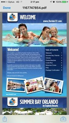 Summer Bay Orlando Holiday Package
