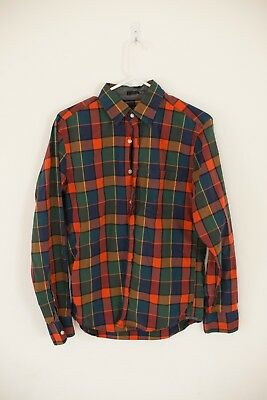 J Crew Men's Slim Fit Oxford Tartan Button Front Long Sleeves Shirt size Small