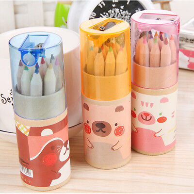12 Pcs / set Bear Cartoon Mini Colored Pencil  Wooden Painting Colors Sharpener