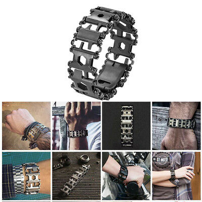 Multi-Tool Stainless Steel Tread Bracelet 29 Functions Travel Outdoor Wearable