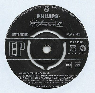 "Rosemary Clooney - Mambo Italiano - EP - 7"" Single"