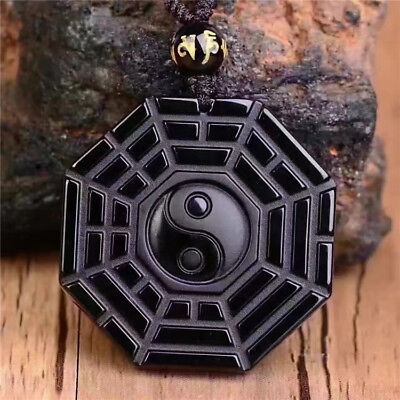 Lucky Blessing Beads Pendant Necklace Natural Black Obsidian Hand Carved gossip