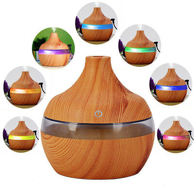 7 Color Changing Wood Grain USB Aromatherapy Essential Oil Diffuser Humidifier