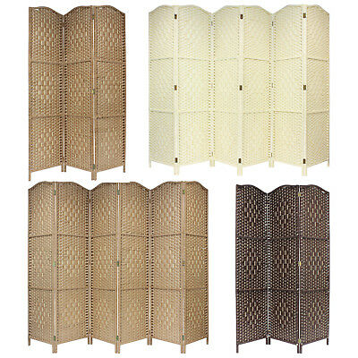 Hand Made Weave Wicker Folding Room Divider Separator/privacy Screen 3/4/6Panels