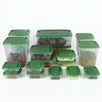 34pcs Microwave Plastic Food Storage Container Set Fruit Saver Freezer Lunch Box