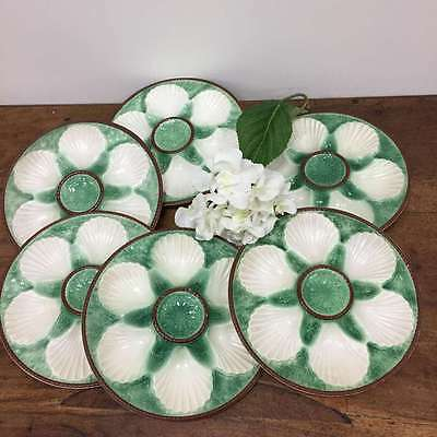 French Vintage Oyster Plates Set Six 6 Green and Cream ceramic Rare   * DL268b