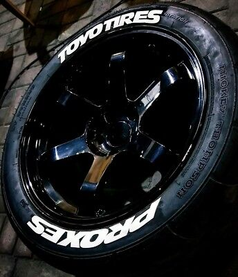 """RUBBER  TIRE LETTERS TOYO TIRES PROXES 1"""" - 15"""" to 19'' Wheels (8 Decal Kit)"""