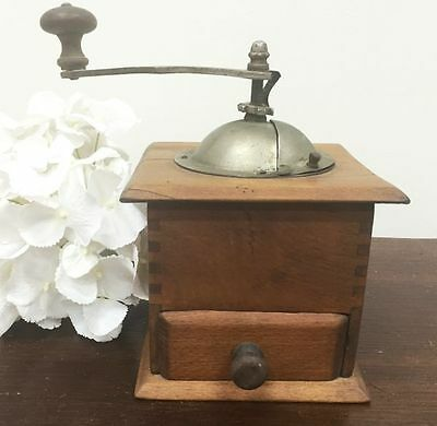 Antique French COFFEE GRINDER Oak Hand Ground Coffee - j093