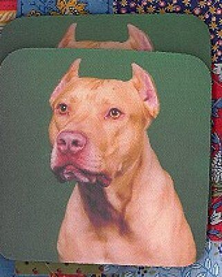 PITBULL RED NOSED Rubber Backed Coasters #0917