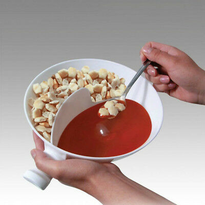 Med White Anti Soggy Cereal Bowl With Ergonomics Handle Design and Grip