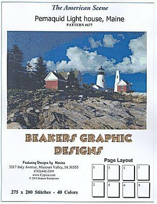 PEMAQUID LIGHTHOUSE ME Counted Cross Stitch detailed #677