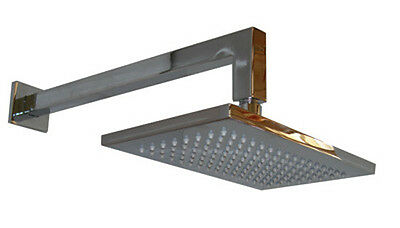 Rectangular Square Style Shower Head & Wall Mounted Arm Set, Brass Chrome, 074B