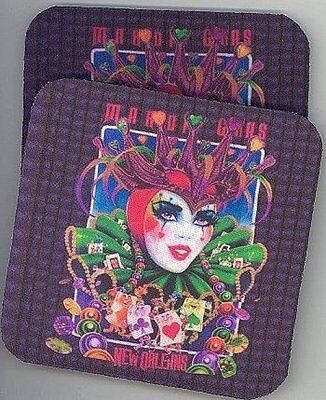 MARDI GRAS Rubber Backed Coasters #0806