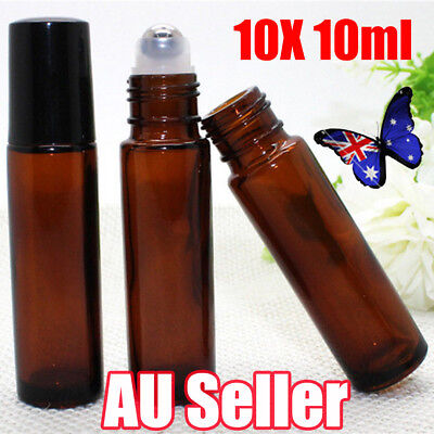 10 10ml Amber Glass Bottles Roller Rollerball Perfume Essential Oil Roll on Ball