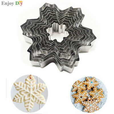 Set of 9 Nesting Stainless Steel Snowflake Cookie Cutters