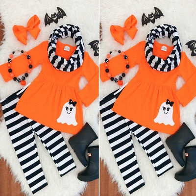 3PCS Cotton Kids Baby Girl Halloween Top+Stripe Leggings+Headband Clothes Outfit