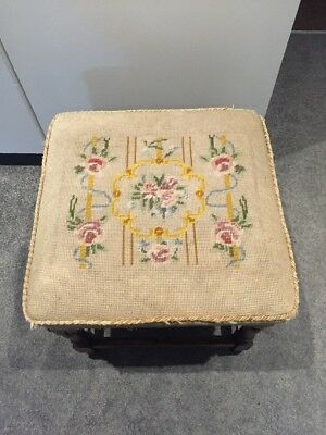 Antique Embroidered Stool