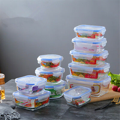 6pcs Leakproof Tempered Glass Food Storage Container Microwave Lunch Box 400ML