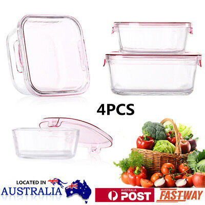 4pcs Microwave Tempered Glass Food Container Vegetable Meat Storage Lunch Box OZ