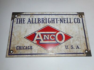 Early 1900's Allbright Nell Co. Meat Slaughter/machinery Porcelain Sign Chicago