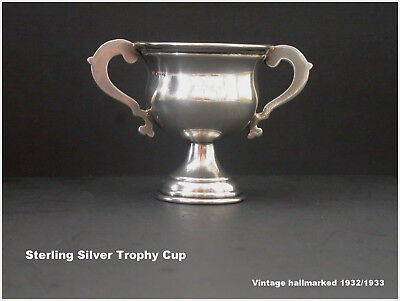 Silver Trophy Cup Solid Sterling Vintage 1932 Dublin & Birmingham Hallmarked