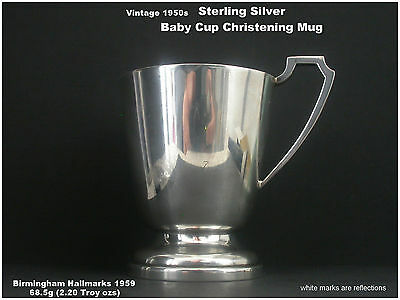Silver Baby Cup Christening Mug Solid Sterling Silver HM 1959 by John Rose