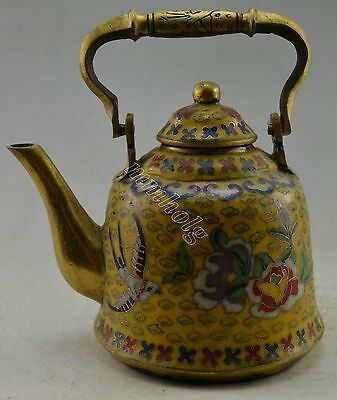 Collectible Decorated Cloisonne Carved Flower Bird Tea Pot