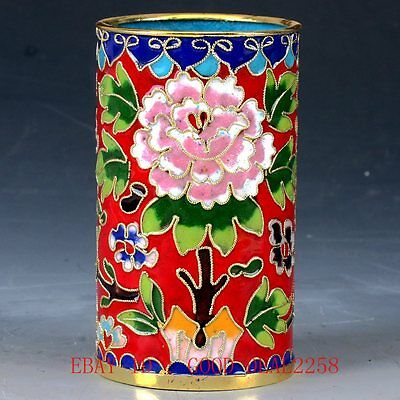 Chinese  Cloisonne Hand-painted Flower Brush Pots JTL045
