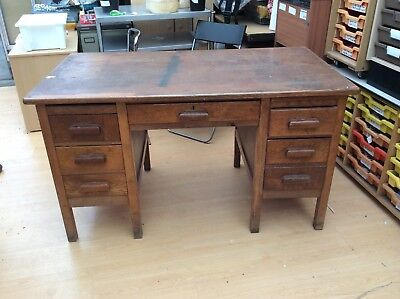 Vintage Oak & Veneer Twin Pedestal Desk for Restoration